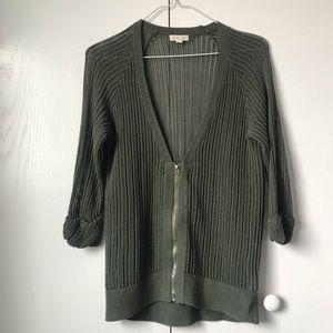 Silence + noice Open Knit Zip Up cardigan
